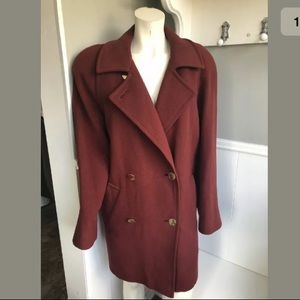 Burgundy Vintage Wool Peacoat 14 XL Aquascutum